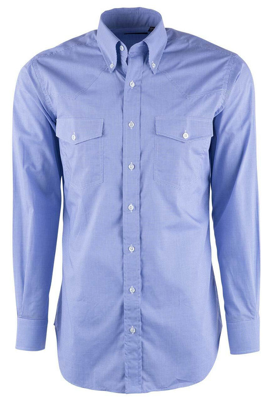 Pinto Ranch YY Collection Periwinkle Micro Graph Check Shirt - Front