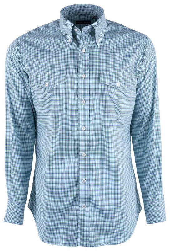 74a60c54 Pinto Ranch YY Collection Green and Blue Micro Graph Check Shirt - Front
