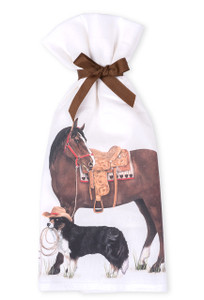 Horse and Dog Flour Sack Towels - Front