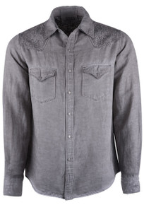 Ryan Michael Embroidered Patina Dye Snap Shirt - Front