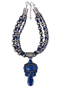 Turquoise Moon Lapis Pendant Necklace and Matching Earring Set  - Front
