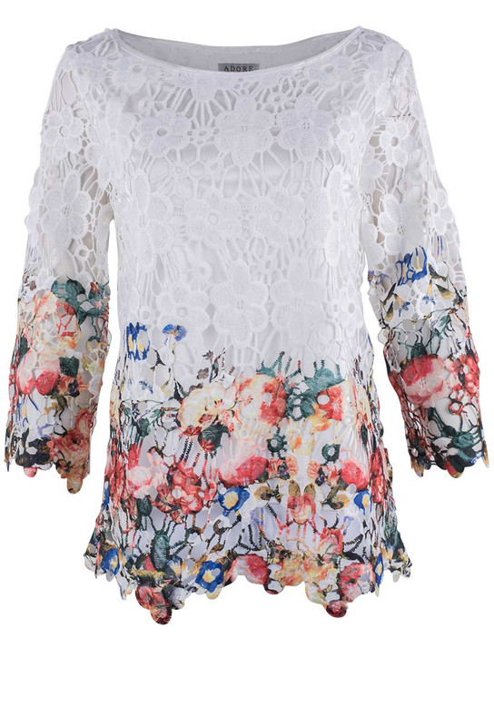 Adore White Floral Top - Front
