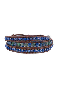Wrapped to Wear Triple Lapis Wrap Bracelet - Front
