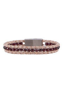 Wrapped to Wear Garnet Magnetic Clasp Boho Bracelet - Front