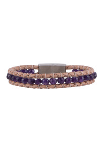 Wrapped to Wear Amethyst Magnetic Clasp Boho Bracelet - Front