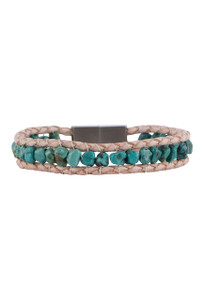 Wrapped to Wear Turquoise Nugget Magnetic Clasp Boho Bracelet - Front