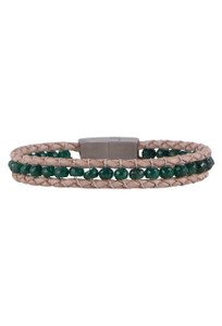 Wrapped to Wear Emerald Magnetic Clasp Boho Bracelet - Front
