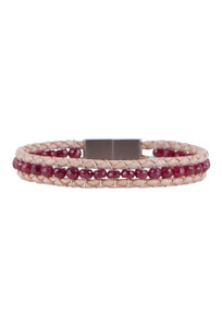 Wrapped to Wear Ruby Magnetic Clasp Boho Bracelet - Front
