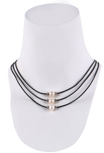 Wrapped to Wear Three Tier Pearl Necklace - Front