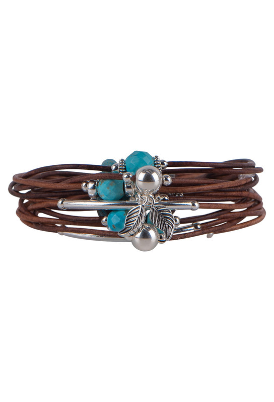 Wrapped to Wear Turquoise and Sterling Silver Scatter Bracelet - Front