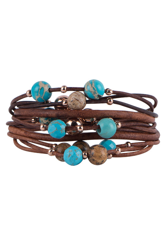 Wrapped to Wear Turquoise and Rose Gold Scatter Bracelet - Front