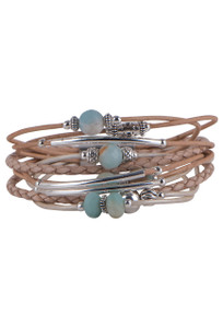 Wrapped to Wear Amazonite and Sterling Silver Scatter Bracelet - Front