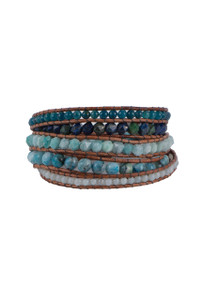 Wrapped to Wear Amazonite and Lapis Spiral Wrap Bracelet - Front