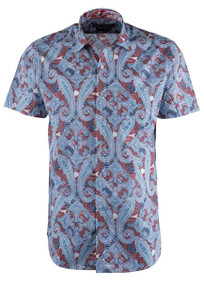 David Smith Australia Short Sleeve Cherry Paisley Print Sport Shirt - Front
