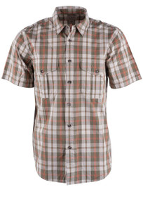 Filson Olive, Khaki, and Chili Feather Cloth Short Sleeve Shirt - Front