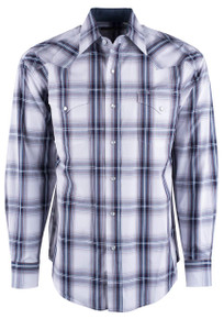 Stetson White And Navy Plaid Snap Shirt- Front