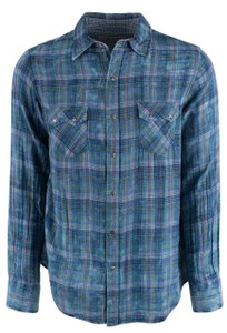 Ryan Michael Indigo Fiesta Double Face Plaid Snap Shirt - Front
