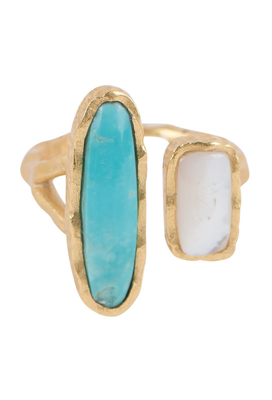 Christina Greene Deco Twin Turquoise and Pearl Ring - Front