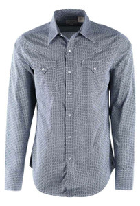 Stetson Navy Neat Print Snap Shirt - Front