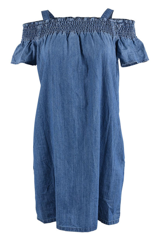 6a0e8c396559 Stetson Off-the-Shoulder Denim Dress - Pinto Ranch