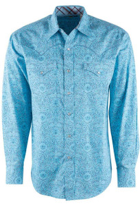 Stetson Blue Baroque Paisley Print Snap Shirt - Front