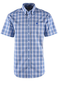 Cinch Blue and White Multicolor Plaid Sport Shirt - Cinch