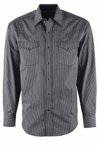Stetson Black Honeycomb Geometric Print Snap Shirt - Front