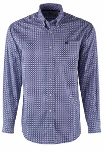 Cinch Navy and Lilac Linked Circles Sport Shirt - Front
