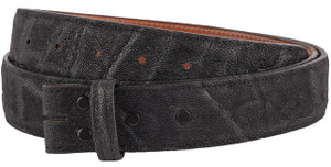 "Handmade Black Elephant 1 1/2"" Leather Belt Strap - Front"
