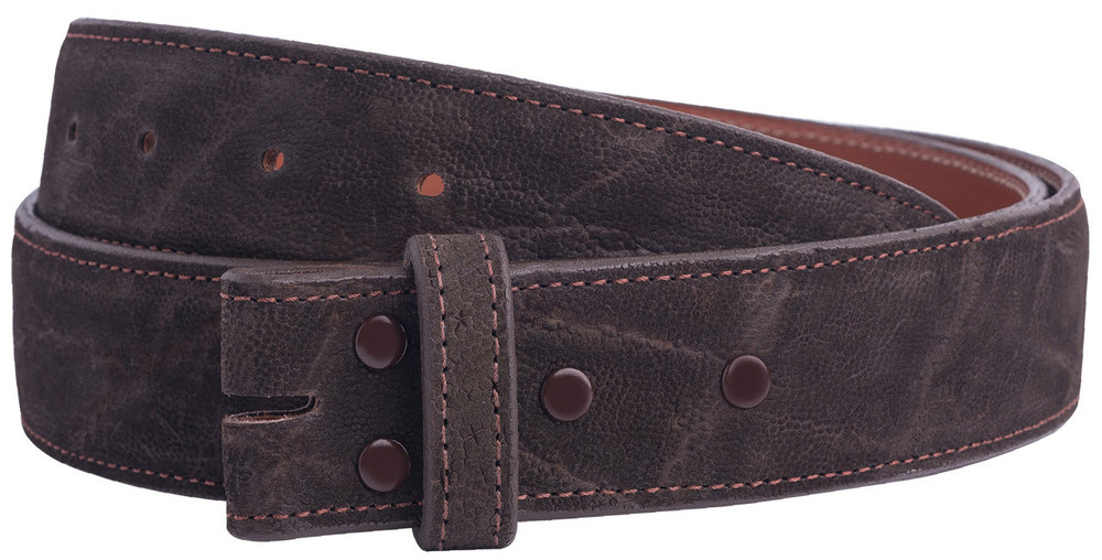 """Handmade Chocolate Suede Elephant 1 1/2"""" Leather Belt Strap - Front"""