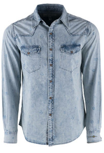 Ryan Michael Indigo Acid Wash Native Printed Snap Shirt - Front