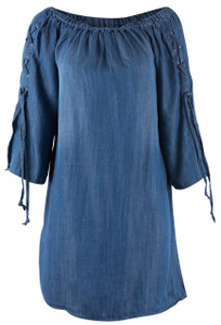 Velvet Heart Leilani Denim Dress With Lacing Top - Front