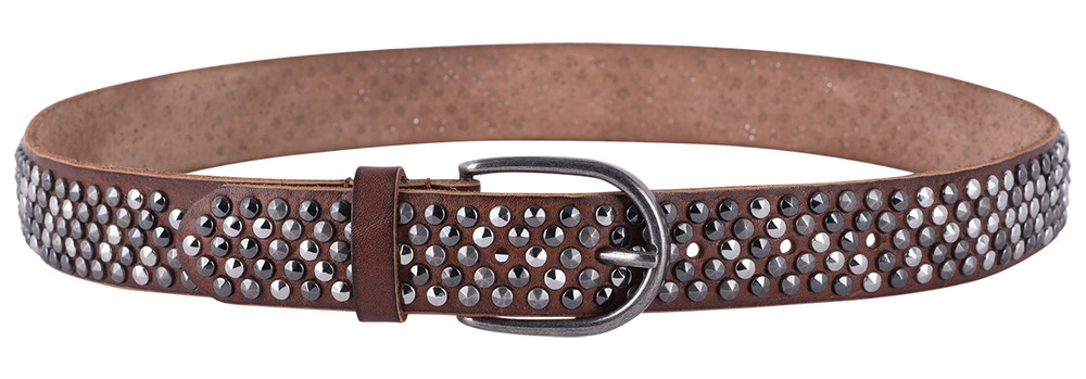 "Amsterdam Heritage Cognac 1 3/8"" Studded Leather Belt"