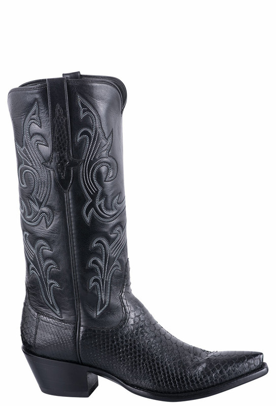 STALLION WOMEN'S BLACK PYTHON COWBOY BOOTS