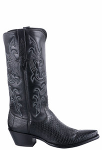 Stallion Women's Black Python Cowboy Boots - Side
