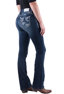 Grace in L.A. White Trimmed Pocket Boot Cut Jeans