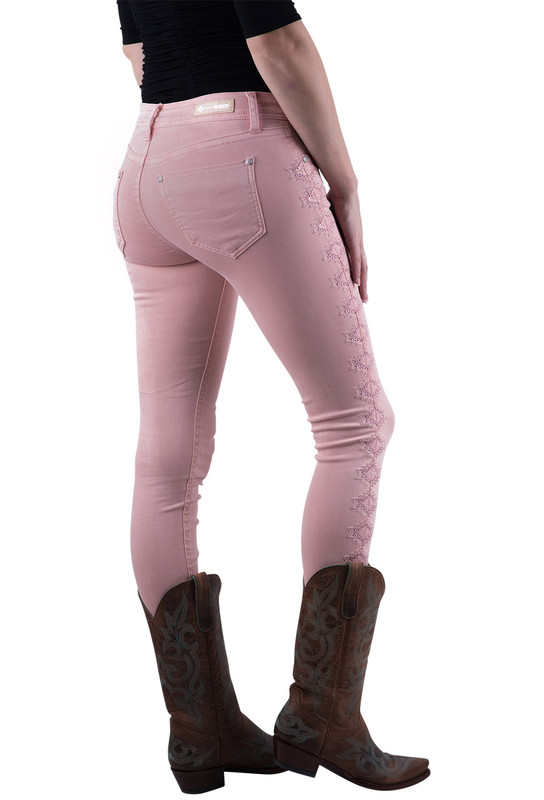 Grace in L.A. Pink Easy Fit Embroidered Skinny Jeans