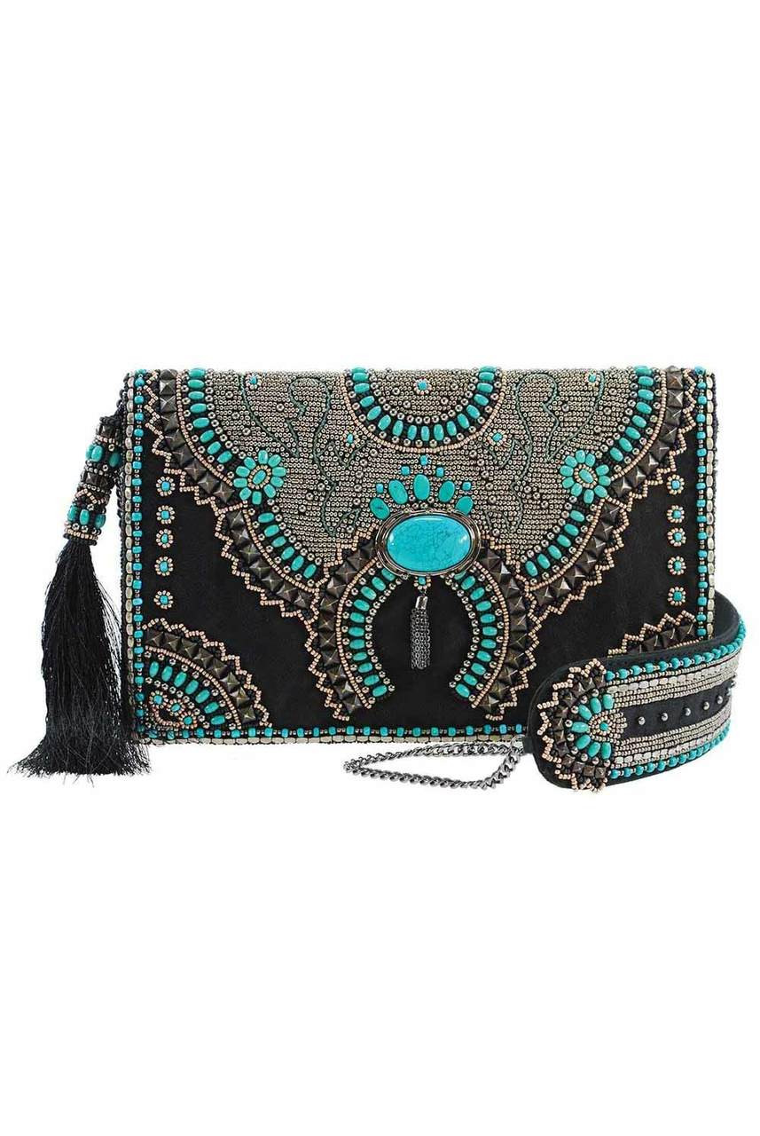 buying now search for genuine size 40 Mary Frances Squash Blossom Beaded Crossbody Clutch Purse