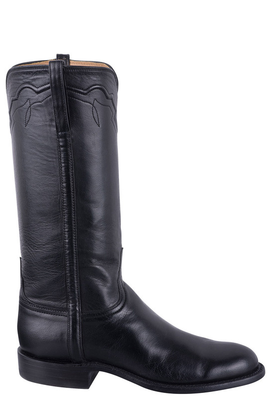 LUCCHESE WOMEN'S BLACK BABY BUFFALO ROPER BOOTS
