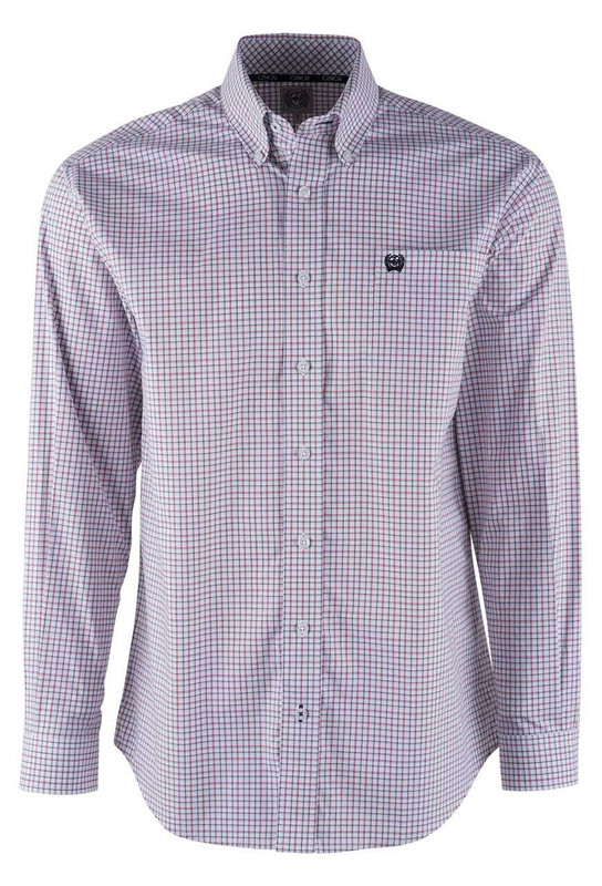 Cinch White Background Red And Black Check Sport Shirt - Front