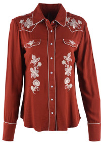 Stetson Rust Cowgirl Embroidered Snap Shirt