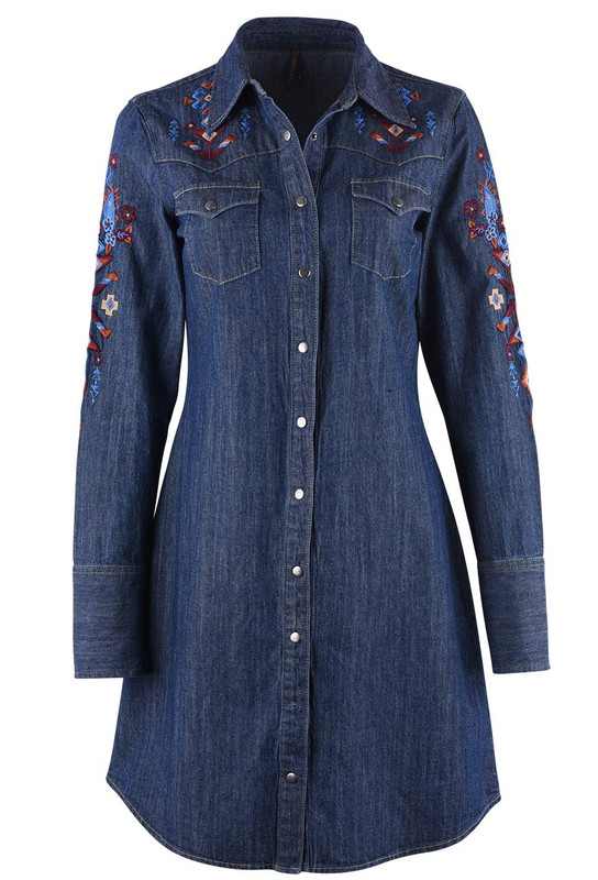fc650b61ef Stetson Denim Embroidered Snap Shirt Dress - Pinto Ranch