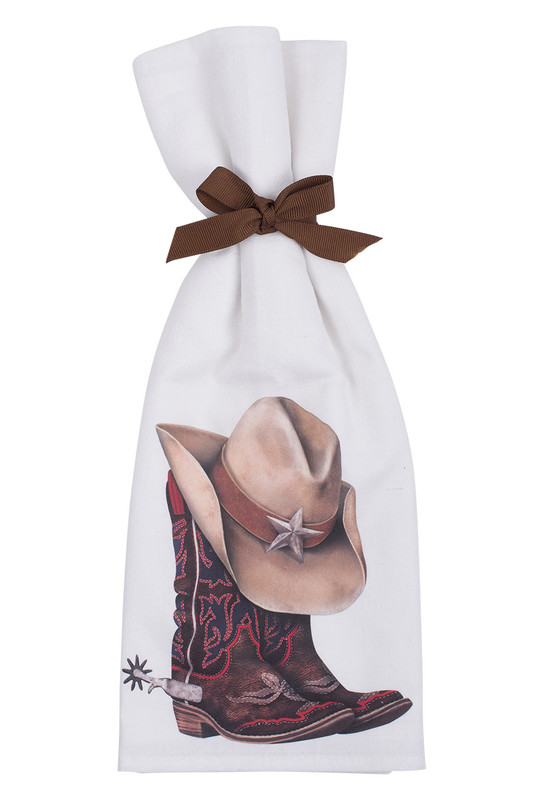 Cowboy Boot and Hat Flour Sack Towels