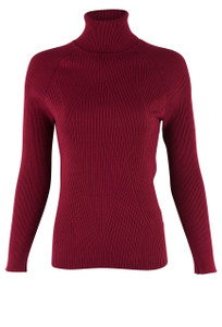 Metric Black Long Sleeve Turtleneck  - Front - Garnet