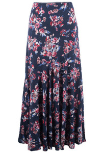 Lola P Navy Floral Print Skirt - Front