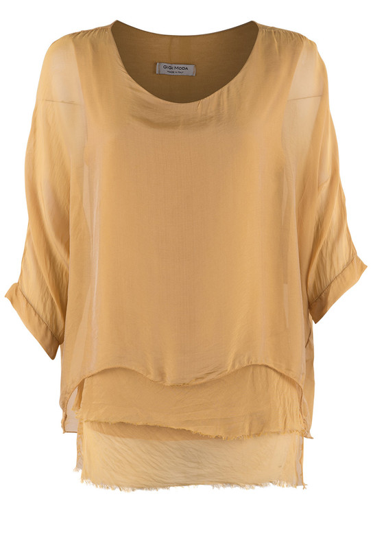 Gigi 3/4 Sleeve Top with Tier Bottom - Front - Mustard