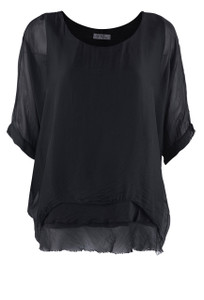 Gigi 3/4 Sleeve Top with Tier Bottom - Front - Black