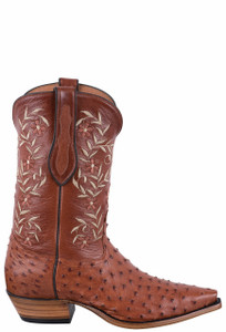Tony Lama Signature Series Women's Brandy Full Quill Ostrich Boots - Side