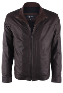 Remy Chocolate and Timber Lambskin Jacket - Front