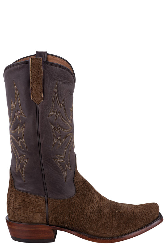 Rios of Mercedes Tan and Chocolate Hippo Cowboy Boots- Side